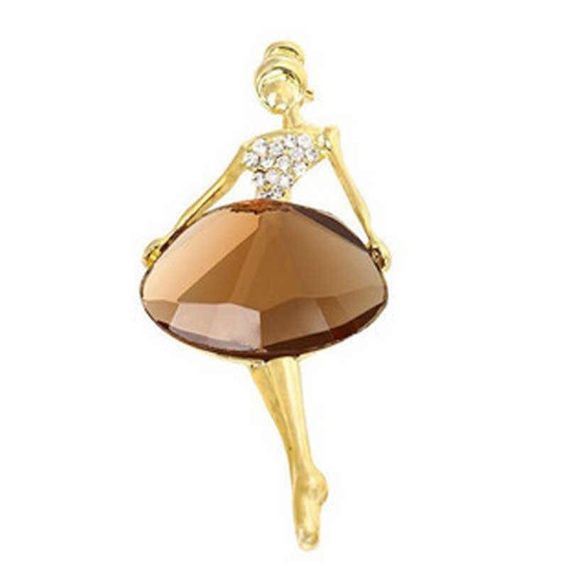 Hot 1PC Bella Affascinante di Cristallo Della Principessa Ballerina Spilla Donne Alla Moda Spilli Delle Ragazze Dei Monili di Bling Accessori