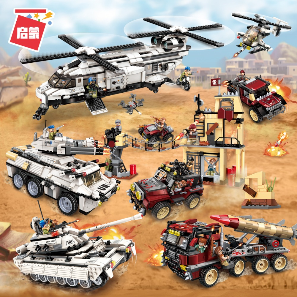 Enlighten Military Legoe Education Building blocks Stacking Toy War Tank Panzer Chinook Helicopter Car Vehicle Weapon UN Force