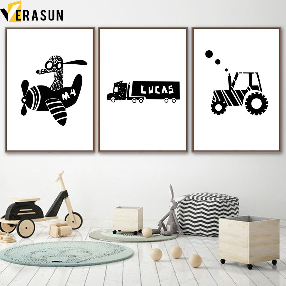 Black White Airplane Truck Tractor Wall Art Canvas Painting Nordic Posters And Prints Cartoon Wall Pictures For Kids Room Decor image
