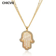 Chicvie Длинные ожерелья золотого цвета с кристаллами для женщин