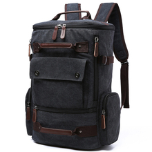 Canvas Backpack Men Solid Travel Bags Mochila Masculina Bolsa School Bag Material Escolar Laptop Notebook Backpacks