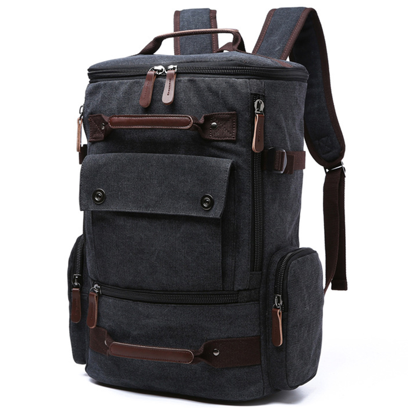 Canvas font b Backpack b font Men Solid Travel Bags Mochila Masculina Bolsa School Bag Material