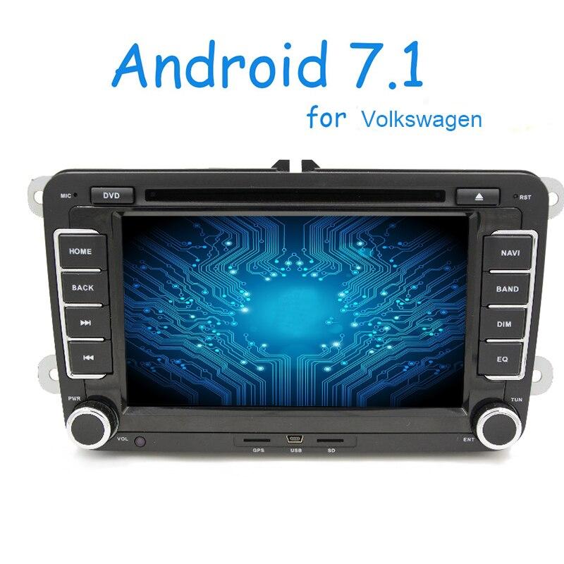 2 din Android 7.1 lecteur DVD de voiture autoradio GPS pour VW GOLF POLO JETTA TOURAN MK5 MK6 PASSAT B6 avec stéréo, bluetooth, FM/AM