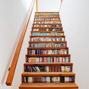 Image 1 - Grande taille mur escalier autocollant de 13 pièces, faux livres bricolage 3D escalier autocollants étagère escaliers autocollants sol mur décor Stickers