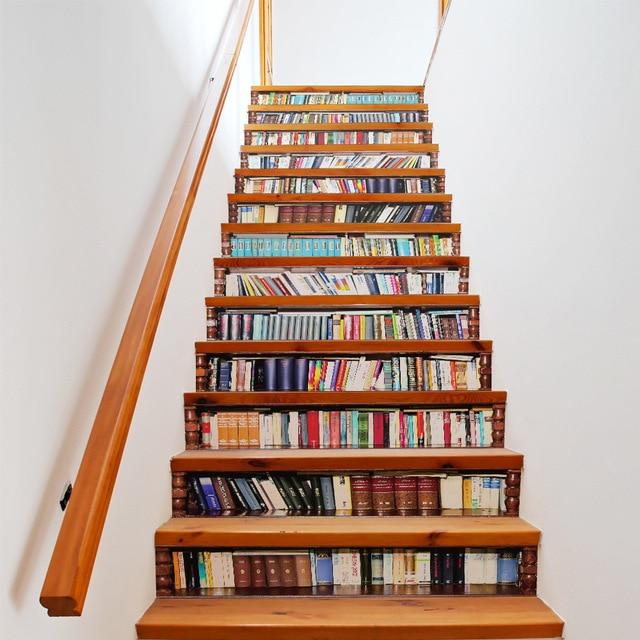 Grande taille mur escalier autocollant de 13 pièces, faux livres bricolage 3D escalier autocollants étagère escaliers autocollants sol mur décor Stickers
