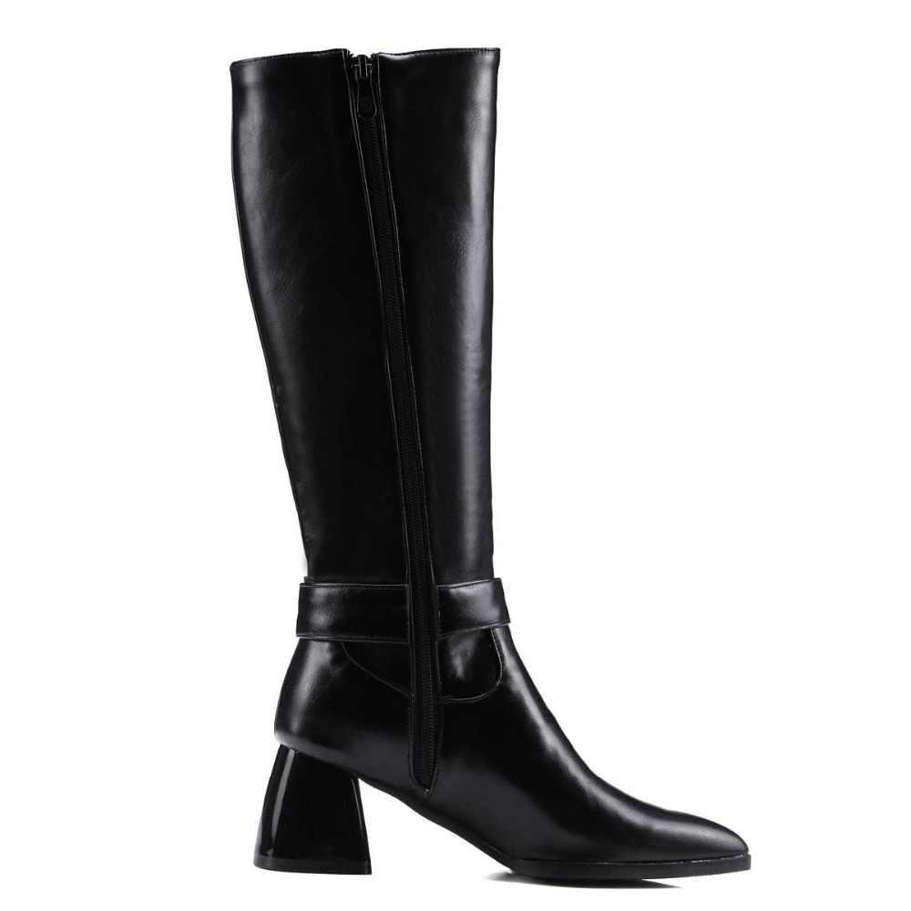 Lenkisen звезды кино в стиле ретро из искусственной кожи Большие размеры молния Оксфорд с острым носком застежка в британском стиле зима warmful сапоги до колена L8f6
