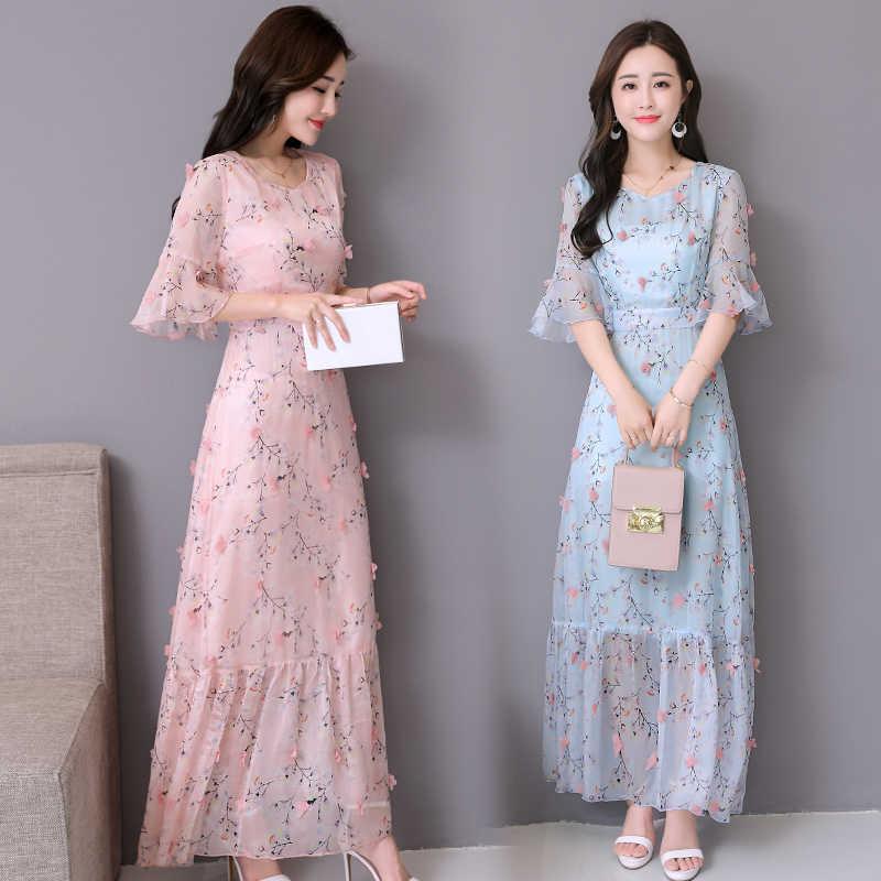 594bc3ce05685 Vintage Summer Floral Chiffon Boho Midi Dress 2019 Plus Size Elegant ...