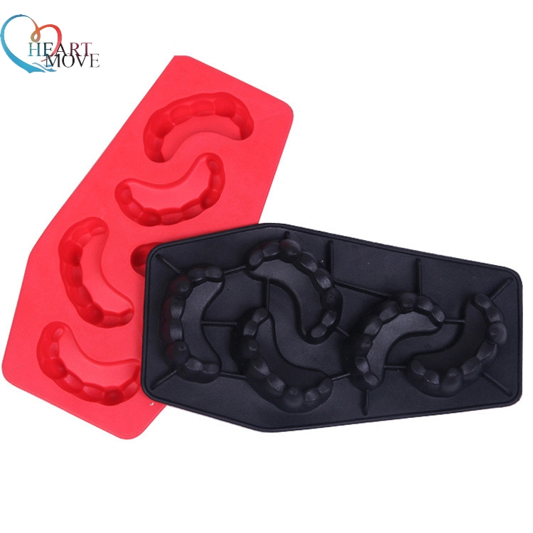 HEARTMOVE Creative Design Tooth Mold Ice Cube Tray Moulds Vampire Teeth Chocolate silicone Mould for Bar Drinking 9868
