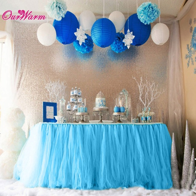 10pcs Table Desk Skirt Tableware Tulle Tutu Wedding Party Decor Baby