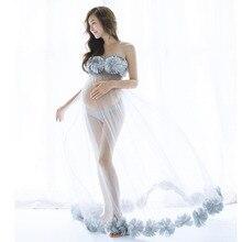 Moederschap Jurken Voor Fotoshoot Moederschap Fotografie Props Bloem Gown Dress Voor Zwangere Vrouwen Zwangerschap Jurken Fotografie