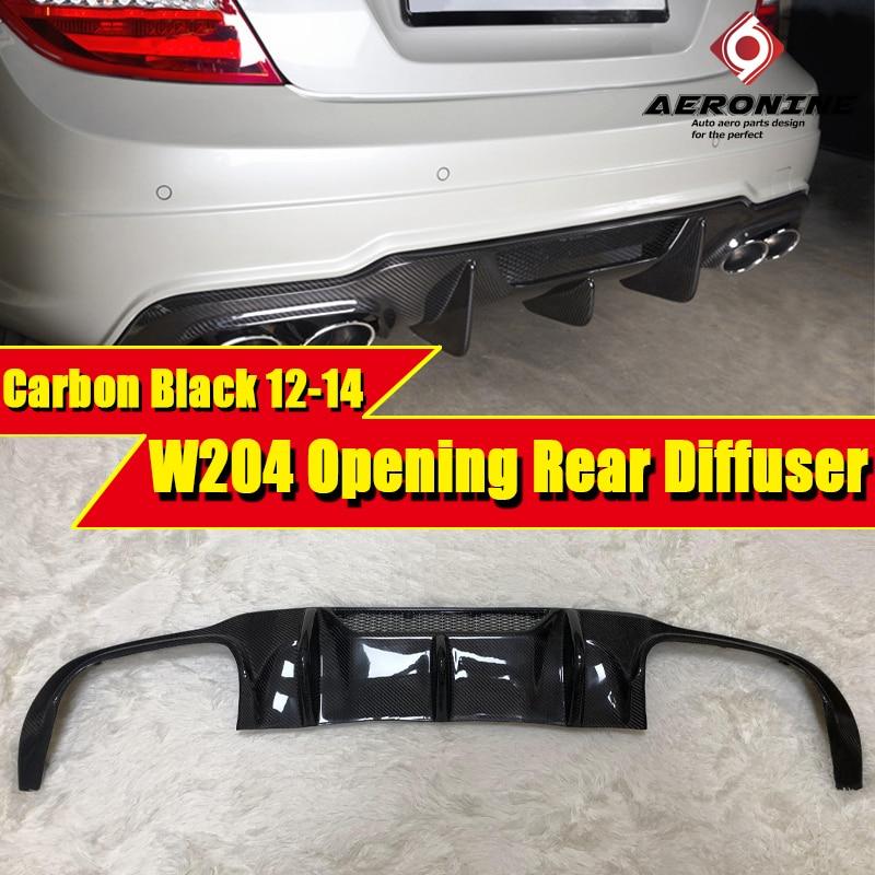 W204 lci esporte amortecedor traseiro difusor lábio fibra de carbono se encaixa para mercedesmb c classe c180 c200 c250 c63amg estilo abertura 2012-2014