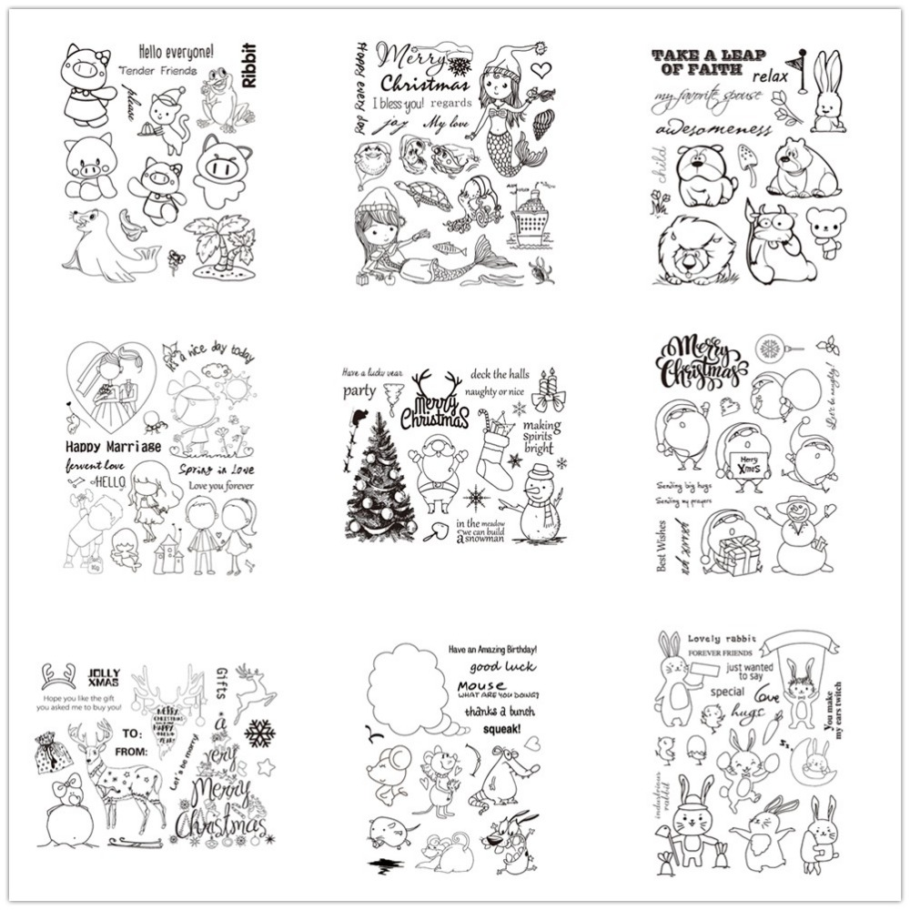 16 Styles Christmas Decorations Clear Stamp Card Making
