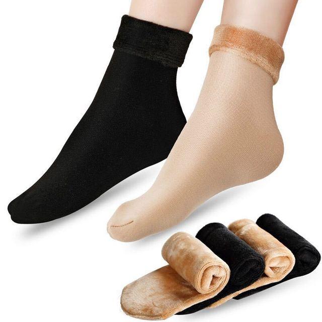 a348b5803 Women Winter Socks Warm Velvet Thicken Thermal Socks Lady Fleece Lining  Slipper Socks 1 Pair
