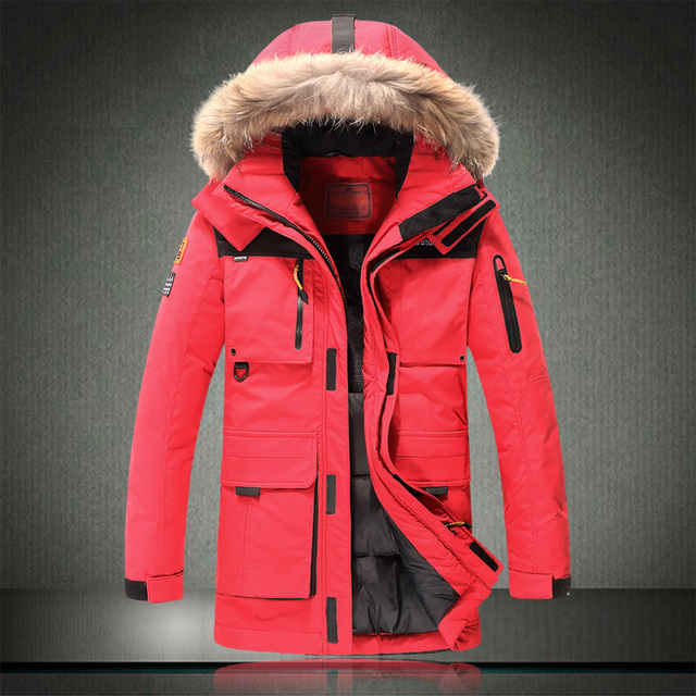 Men's winter down jacket luxury high quality embroidery letter loose long section thick warm warm parka red natural fur 804