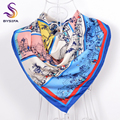[BYSIFA] Blue Twill Square Scarves Wraps For Spring Autumn 90*90cm Winter Brand Large Silk Scarf Top Grade Elegant Silk Muffler