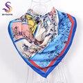 [BYSIFA] Sarga azul Cuadrados Bufandas Wraps Para la Primavera Otoño 90*90 cm de Invierno de la Marca Bufanda de Seda Grande de Grado Superior Elegante Silenciador de seda