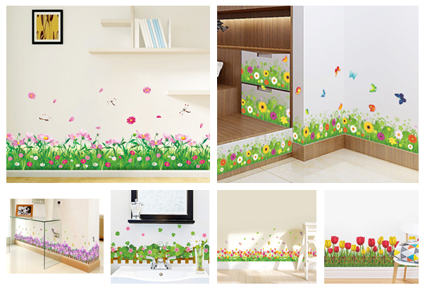 % DIY wall <font><b>stickers</b></font> home decor Nature Colorful Flowers Grass dragonfly <font><b>stickers</b></font> <font><b>muraux</b></font> 3d Wall Decals floral pegatinas de pared image