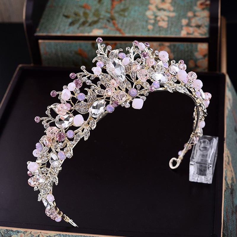 Baroque Pink Rhinestone Pearl Bridal Crowns Handmade Tiara