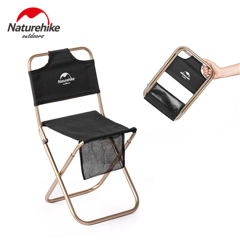 Image 1 - Naturehike Portable Folding Chair Outdoor Beach Camping Picnic Wear resistant Aluminum Leisure Chair Back Fishing Chairs Stools-in Camping Chair from Sports & Entertainment