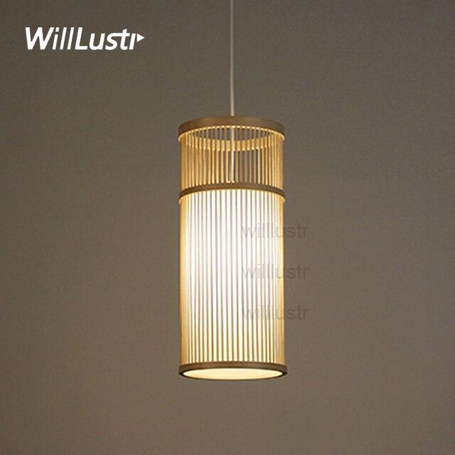 Willlustr bambou pendentif en bois lampe suspension lumière déclairage à la main naturel suspendus