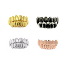 цена на 2018 Fashion Hip Hop Gold Teeth Grillz Top & Bottom Grills Dental Mouth Punk Teeth Caps Cosplay Party Tooth Rapper Jewelry Gift
