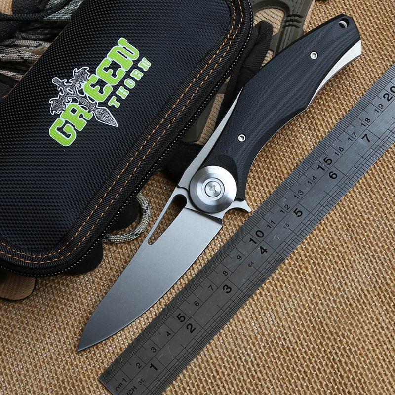 GREEN THORN Dark ball bearing tactical folding knife D2 blade titanium+G10 handle camp hunting outdoor survival knives EDC tools все цены