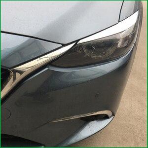 Image 2 - 자동차 스타일링 ABS 헤드 라이트 눈썹 장식 커버 스티커 트림 마즈다 6 M6 Atenza 2016 2017 Exterior Decals Strips Parts
