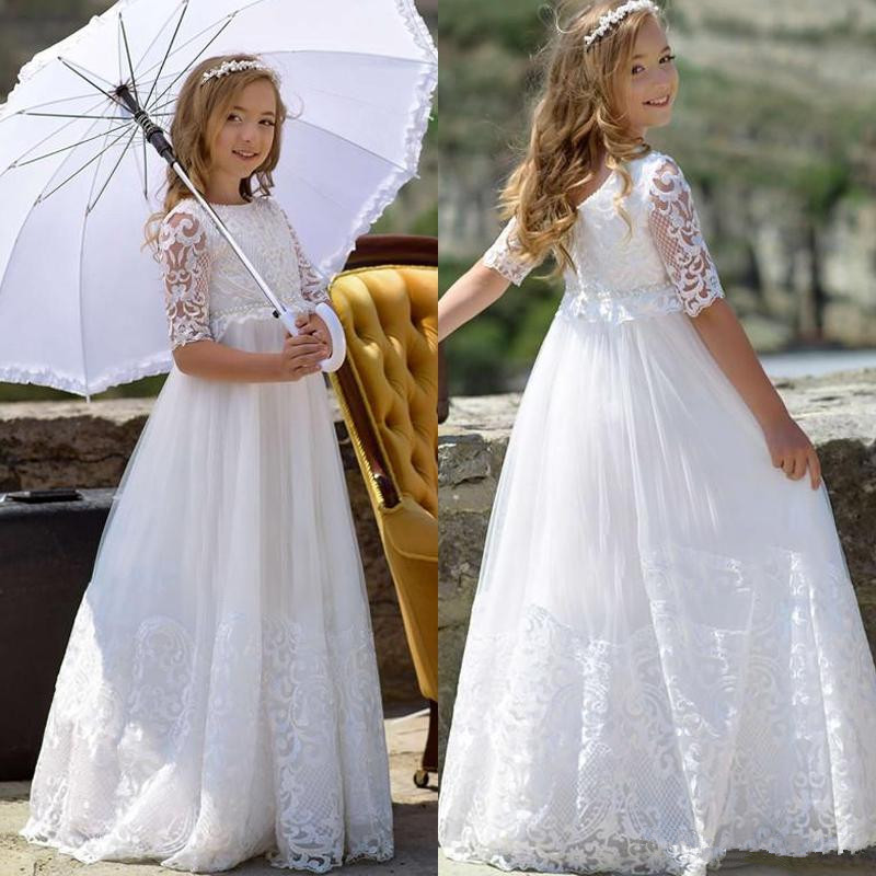 White Puffy Lace Flower Girls Dresses 2019 A Line Half Sleeves Sheer Neck Girls Birthday Party First Communion Dress