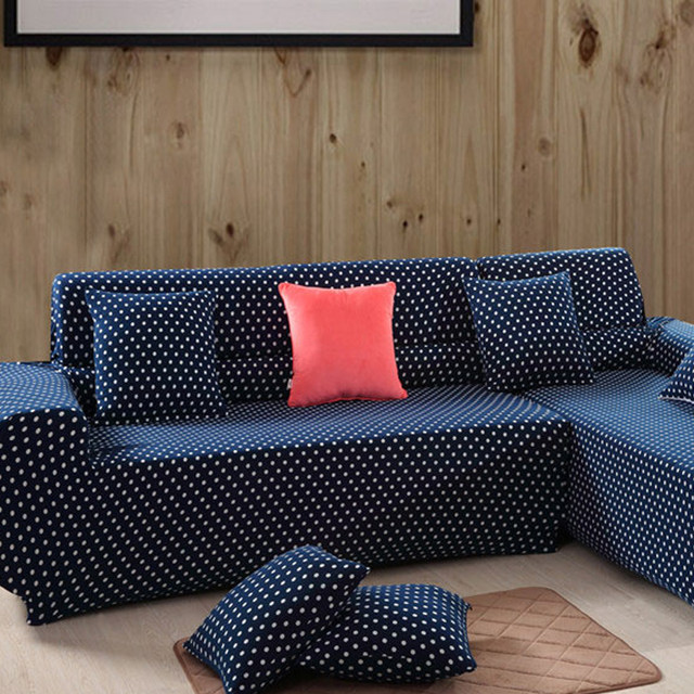 Sofa Covers White Dot Printed Furniture Navy Blue Couch Slipcovers Oversized Stretch Sectional Sofas