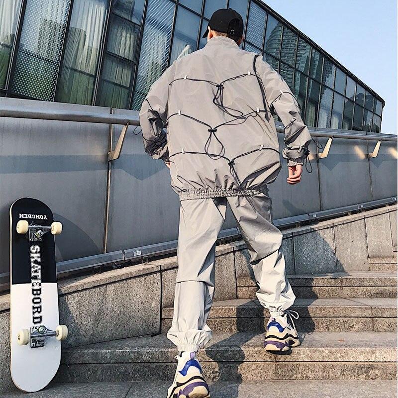 Hop De Escenario Streetwear Ropa Hombres chaqueta Reflectante Conjuntos Mujer Abrigo Casual Chaqueta Hip 2057 Pantalones 3 M Hombre xY4qYRw6
