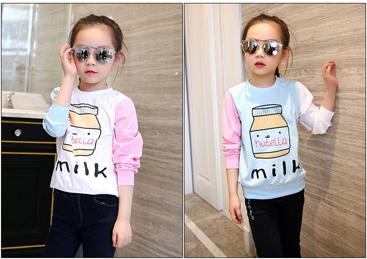 little teenage girls t-shirt character girls tops blue white pink patchwork tees girl tshirt 2016 spring autumn kids clothes  6 7 8 9 10 11 12 13 14 15 16 years old big little teenage girls long sleeve t-shirts children clothing (3)