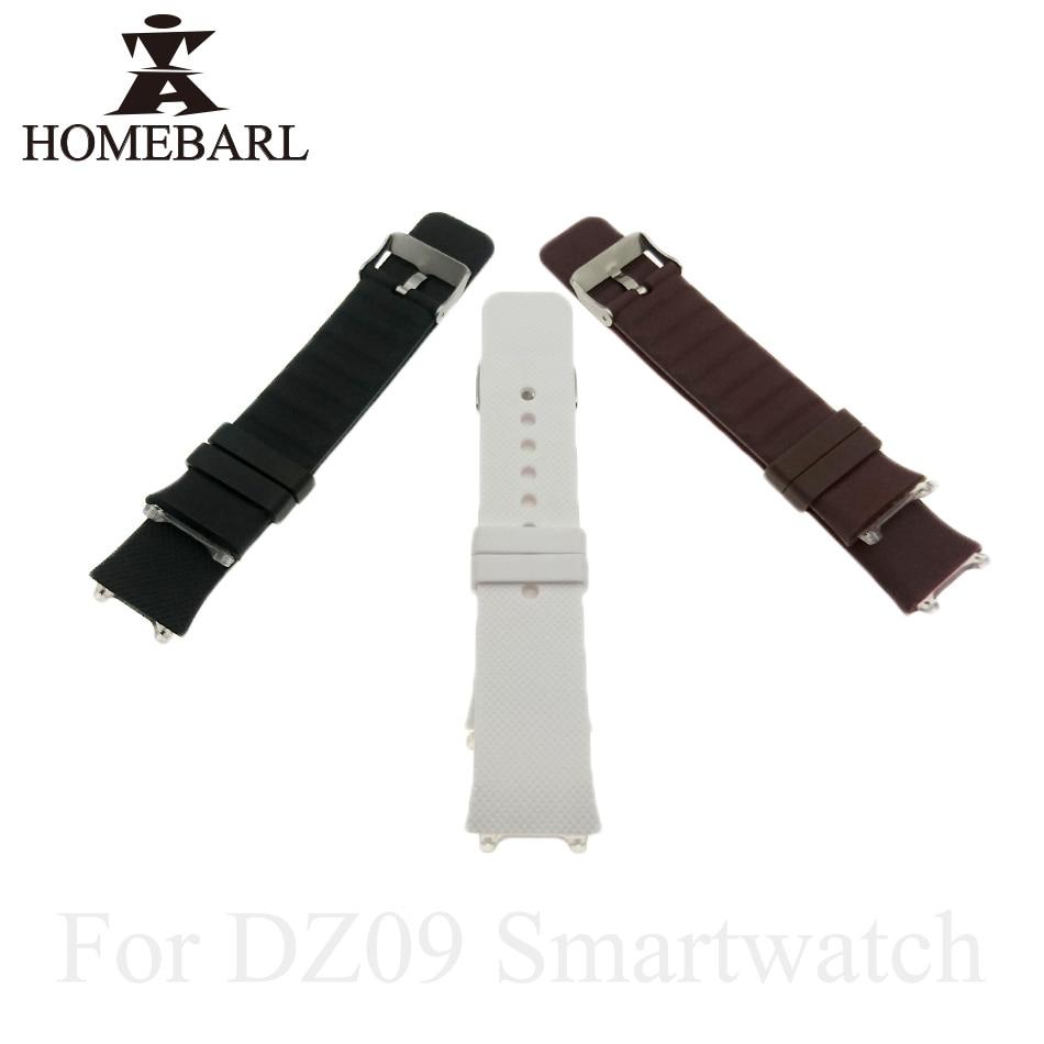 HOMEBARL 3 Color Original DZ09 Smart Watch Strap Silicone Replacement Wrist Watch Band Wrist Strap For DZ 09 Watchband Wristband
