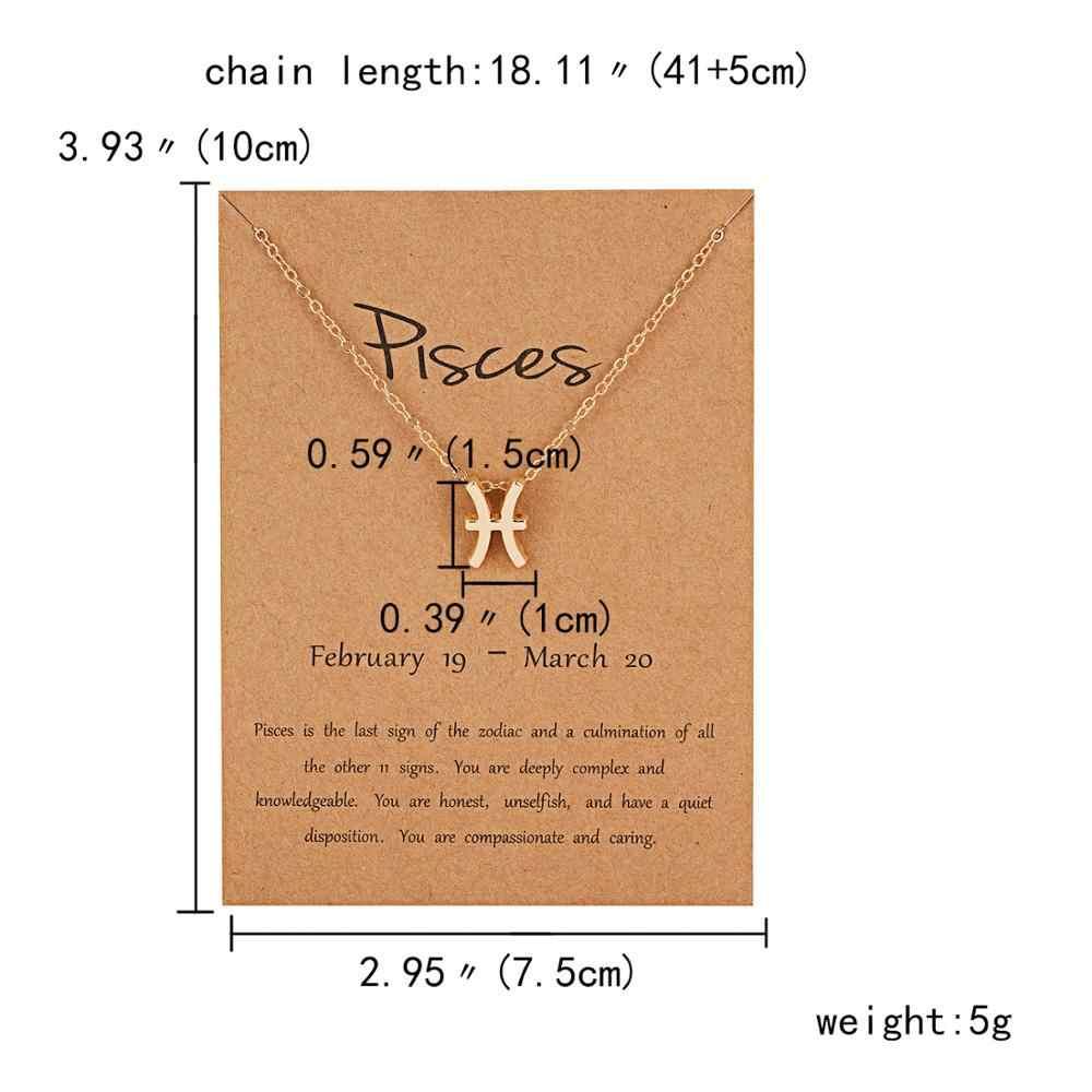 12 znak zodiaku konstelacji wisiorki naszyjniki dla kobiet mężczyzn mężczyzna złoty kolor naszyjniki biżuteria moda prezenty urodzinowe