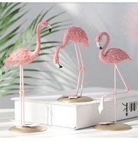 1pc Nordic Ins Roze Flamingo Ornamenten Woonaccessoires Woonkamer Desktop Station Hars Flamingo Decoratieve Standbeeld