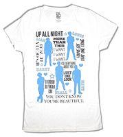 One Direction Songs Collage Mädchen Junioren Weißes T-shirt Neue Offizielle Band 1D