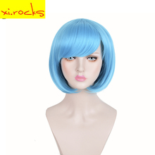 3100 Xi. Rocks 12 Inches Wig Bob Short Straight Hair Synthetic Blue Wigs With Bangs Heat Resistant for Women