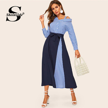 vestido Sheinside stripe alta