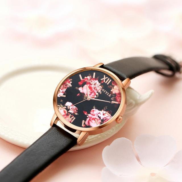 Elegantes relojes de pulsera con esfera floral para mujeres.Reloj cuarzo