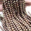6-7mm Genuine Natural Chocolate Freshwater Pearl Rondelle Loose Beads 14 inches