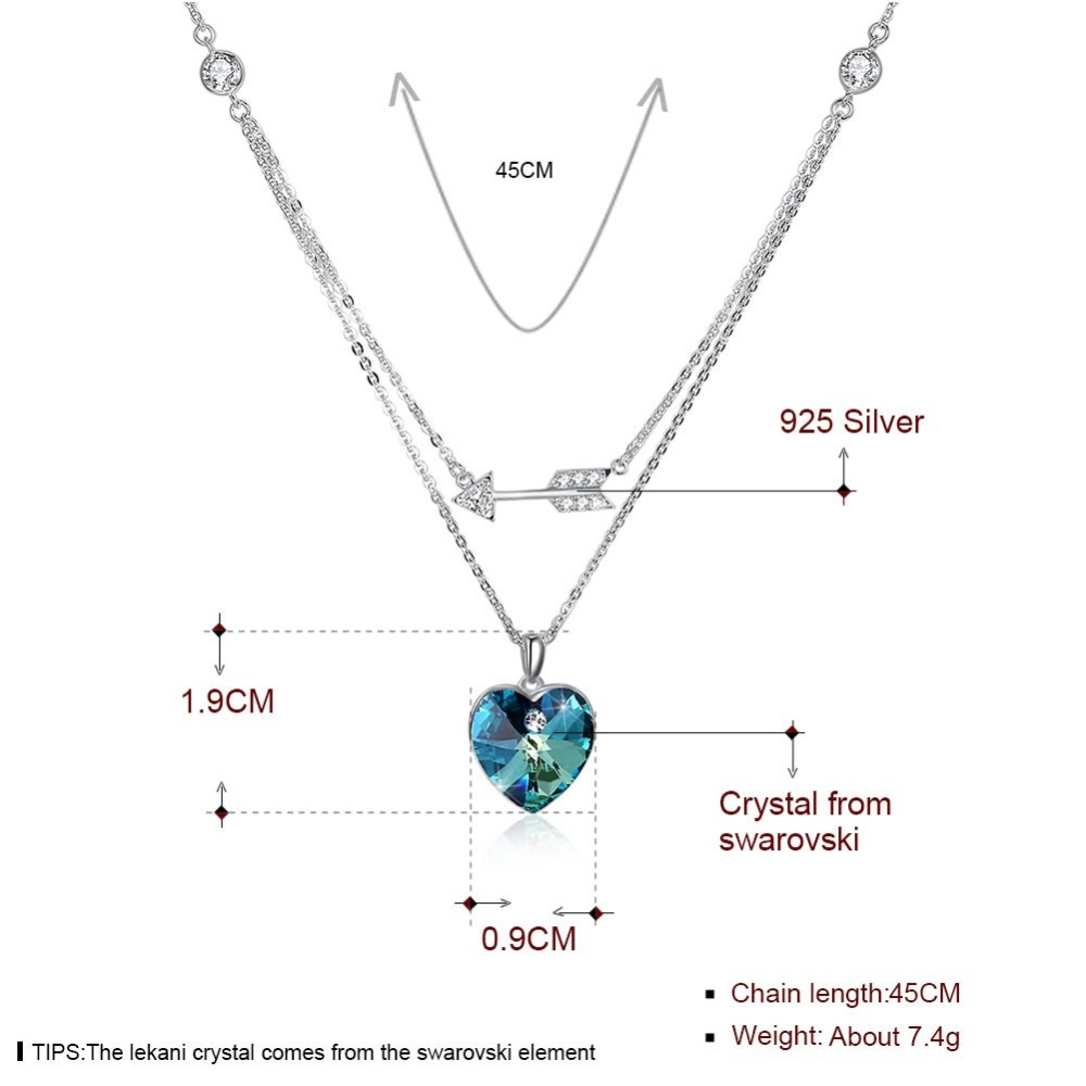LEKANI Crystals From Swarovski Necklace 925 Heart Shaped Double Layer Two Color Pendant Necklace Ladies Romantic Sexy Necklace in Necklaces from Jewelry Accessories