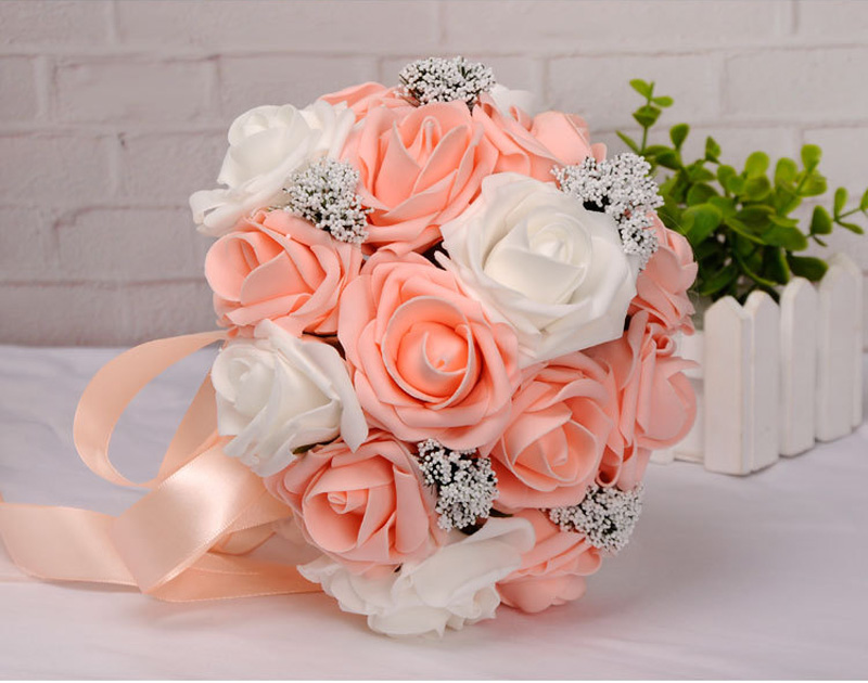 New PE/Ribbon Hand Bouquet 4 Colors Available Bride Holding Artificial Rose Flowers for Wedding Party Supplies