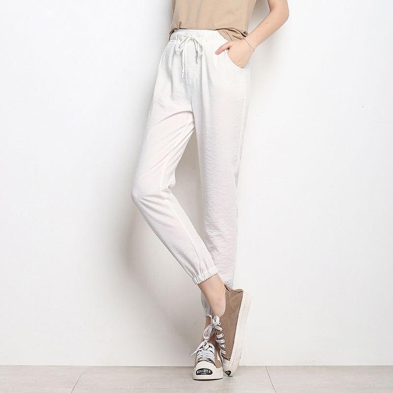 2f071fa9886 CTRLCITY Woman Cotton Linen Plus Size Pants Capris Cropped Pants Elastic  Lace Up Lady Black white Gray Plus size Harem Pants-in Pants   Capris from  Women s ...