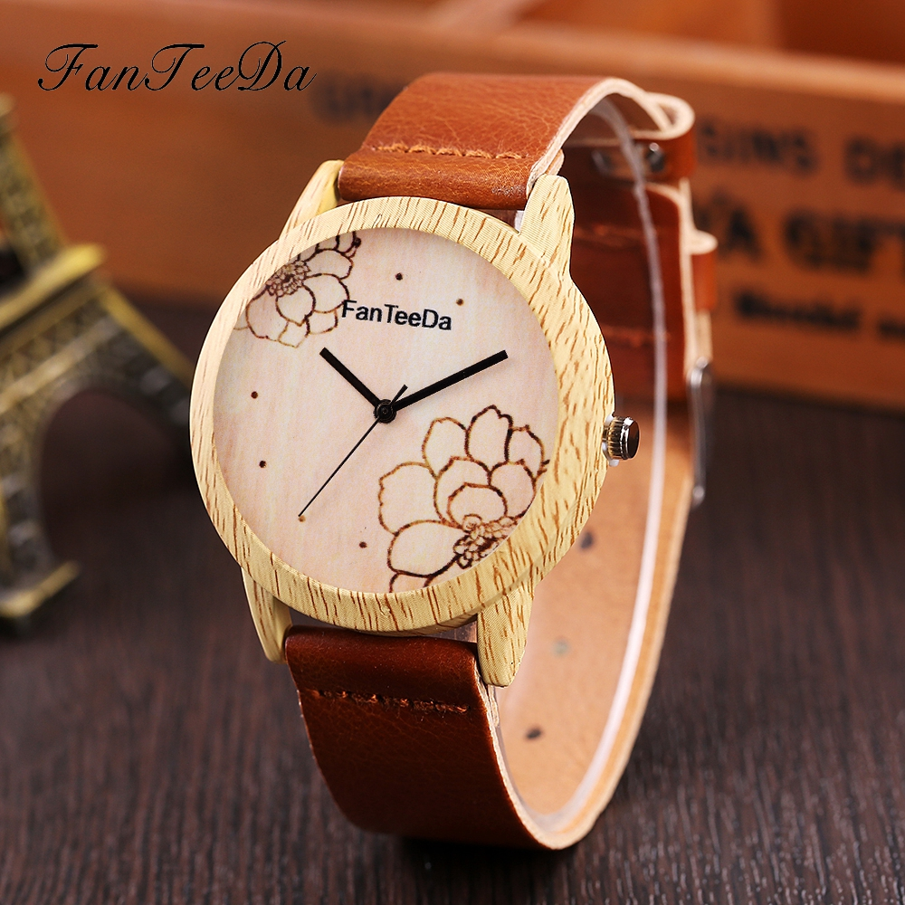 FanTeeDa Brand Fashion Women Watches Ladies Casual Leather Flowers Dial Wood Quartz Watch Female Clock Men Sport Wristwatch fashion leather watches for women analog watches elegant casual major wristwatch clock small dial mini hot sale wholesale