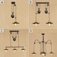 Loft Style Lift Pulley Droplight Adjust Edison LED Pendant Light Fixtures Vintage Industrial Lighting Iron Mirror Hanging Lamp
