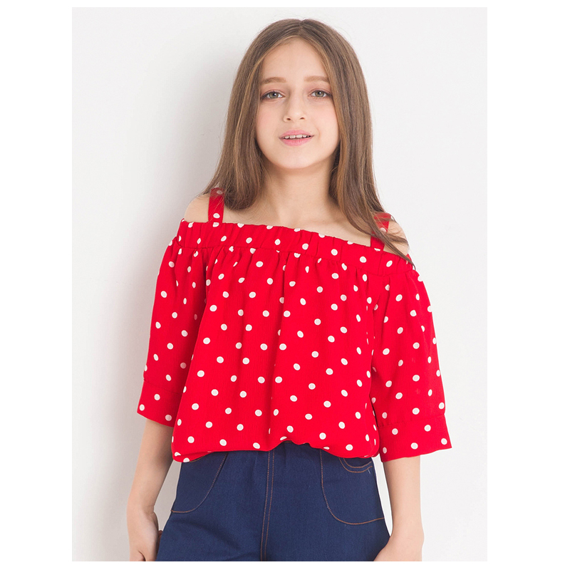 Dot Print Sweet Girls Tops Off shoulder Red T shirts for ...