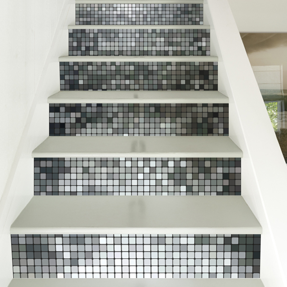 6 Pieces/Set Creative DIY 3D Stairway Stickers Silver Mosaic Tiles Pattern for Room Stairs Decoration Floor <font><b>Wall</b></font> Sticker