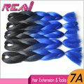 "(5Pieces/Lot)!!! 24""100G Black/Blue Ombre Two Tone Colored Crochet Braids Xpression Kanekalon Jumbo Braiding Synthetic Hair"