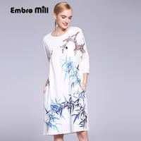 High-end primavera vestiti delle donne di estate Cinese stile floreale midi dress ricamo elegante allentato lady A-line di lino vestito da partito M-XL