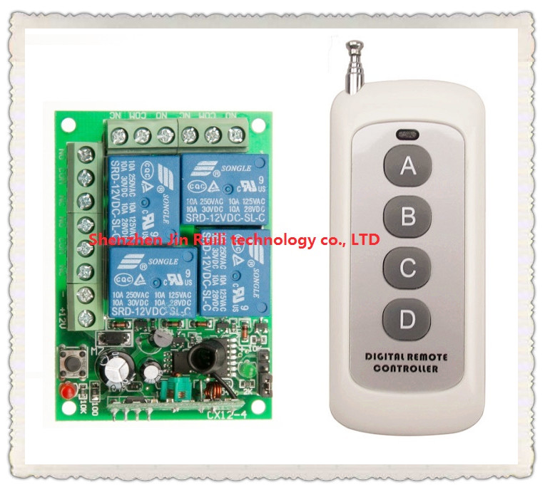 NEW DC12V 10A 4CH Radio Controller RF Wireless Relay Remote Control Switch 315 MHZ 433 MHZ teleswitch 1 Transmitter +1 Receiver купить