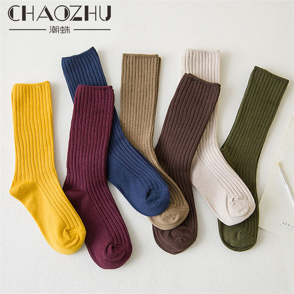 CHAOZHU 2019 New Loose Socks Women 200 Needles Cotton Knitting Rib Solid Colors 14 Kinds of 4 Seasons Basic Daily Women Socks
